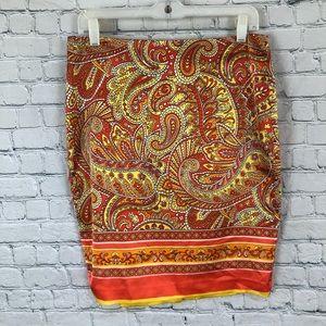 Vince Camuto Orange Paisley Lined Straight Skirt